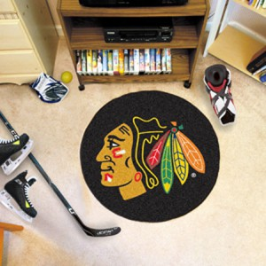 Chicago Black Hawks Team Puck Mat Rug 10279