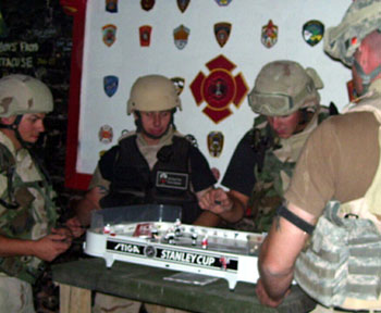 American Soldiers Playing Stiga Table Hockey Games in the Middle East