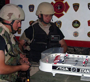 American Soldiers Enjoying their Stiga Table Hockey